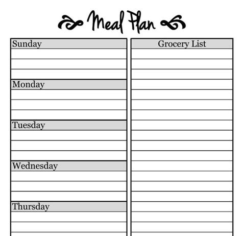 what s a template simple meal planning template the picky eater