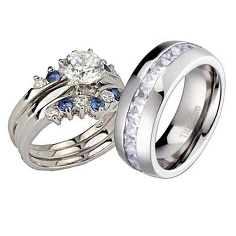 his and hers wedding rings 4 pcs engagement cz sterling silver titanium bo ebay