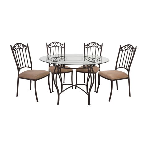 glass table with chairs 72 off wrought iron round glass table and chairs tables