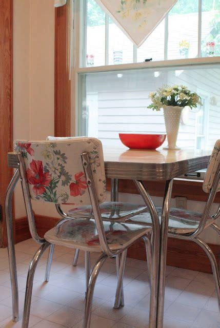 cool idea  fixing upholstery   awesome  chrome chairs fabric  vinyl