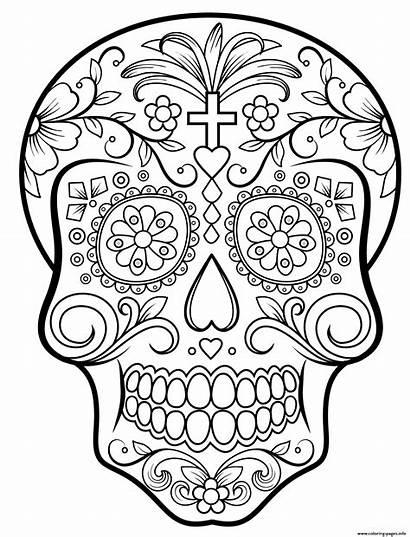 Coloring Skull Calavera Sugar Pages Printable Info