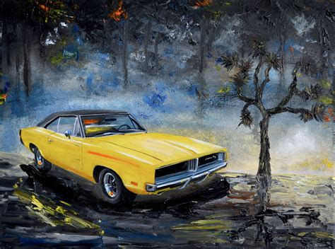 yellow  dodge charger original oil painting dodge