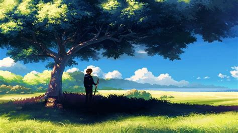 Anime Wallpaper Hd 1366x768 - 1366x768 anime scenery boy tree anime scenery