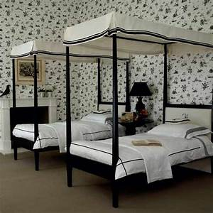 Monochrome twin bedroom