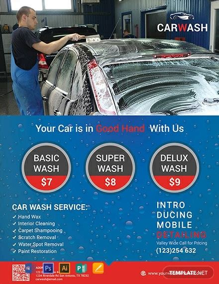 hand car wash flyer template word  psd