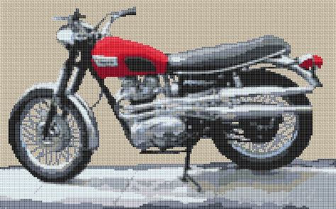 Triumph Speed Twin Motorcycle Cross Stitch Kit And Chart