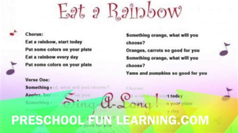 eat a rainbow song preschool learning 403 | maxresdefault