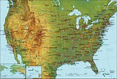 Detailed topographical map of the USA. The USA detailed ...