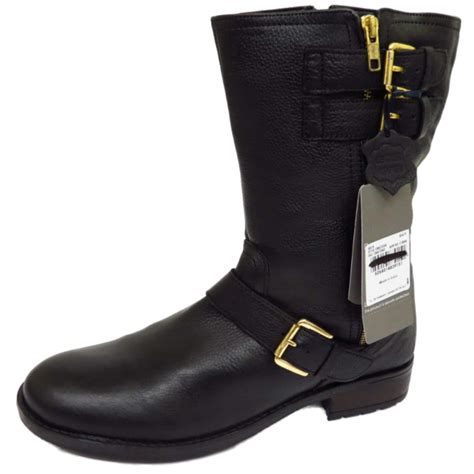ladies biker boots ladies flat black leather zip up calf tall winter military