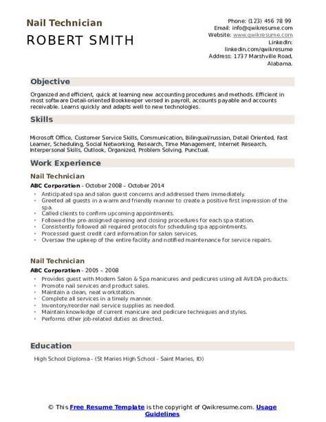 Resume Nail Technician by Nail Technician Resume Sles Qwikresume