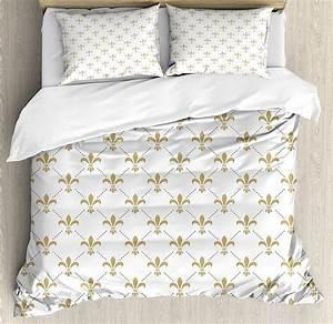 Home, Decor, Duvet, Cover, Set, Fleur, De, Lis, Pattern, Vintage, Stylized, Lily, Flower, Royal, Symbol