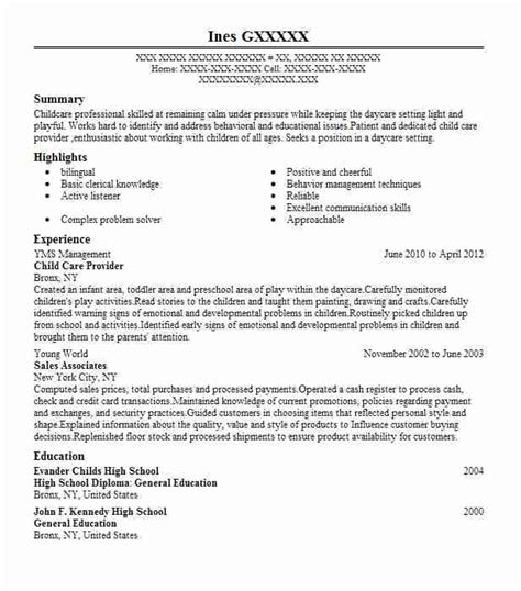 Child Care Provider Resume by Child Care Provider Objectives Resume Objective Livecareer