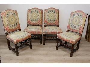 Chaise Louis Xiii : quatre chaises louis xiii dossier droit en chapeau ~ Melissatoandfro.com Idées de Décoration