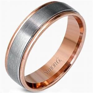 Simon G White And Rose Gold Two Tone Men39s Wedding Ring