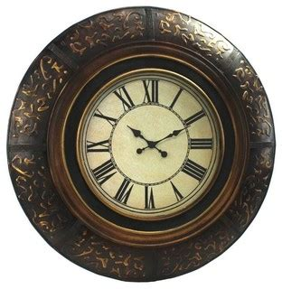 Accent Wall Clock by 35 In Brown W Gold Accent Wall Clock Traditional Wall