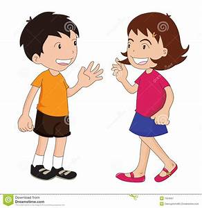 Child clipart talking together - Pencil and in color child ...