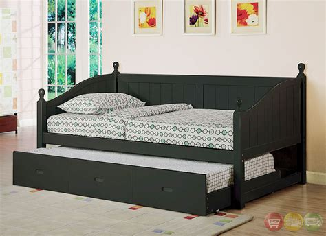 Roberta Cottage Black Platform Daybed With Twin Trundle