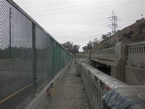Walkway Along The Southbound Los Angeles River Bridge