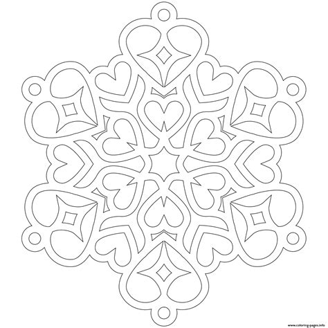 snowflake hearts mandala coloring pages printable