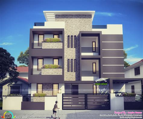 Contemporary Three Storied Residential Building  Kerala