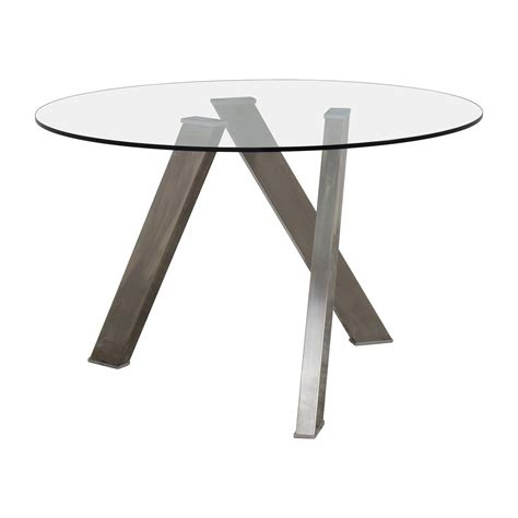 30% OFF  Modern Glass and Metal Round Dining Table Tables