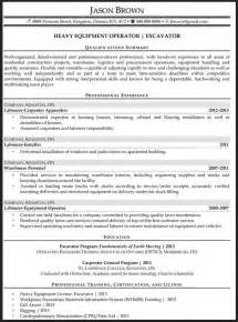 resume cover letter heavy equipment operator heavy equipment operator resume sle resume format