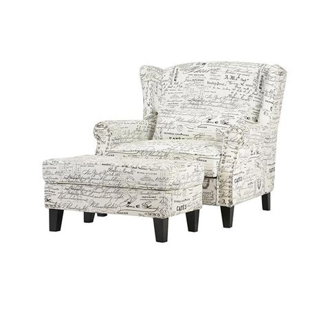 arm chair with ottoman home decorators collection zoey script white polyester arm