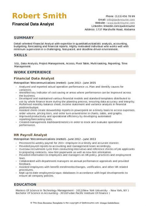 Financial Analyst Resume Template Free by Financial Data Analyst Resume Sles Qwikresume