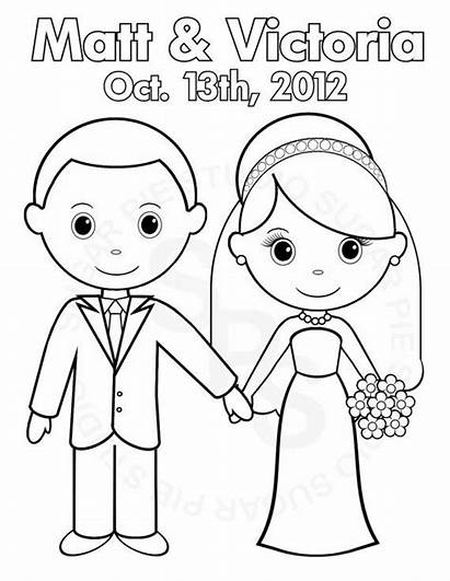 Coloring Pages Groom Bride Printable Party Personalized