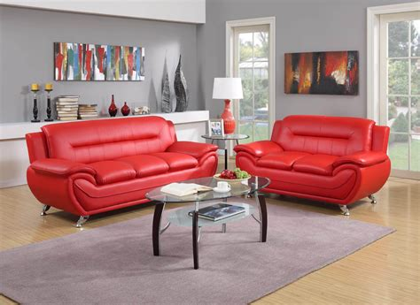 red contemporary living room set leather living room sets