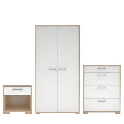 evie matt high gloss white oak effect  piece bedroom