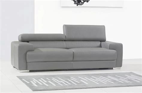 canap 233 3 places en cuir italien vivaldi gris clair mobilier priv 233