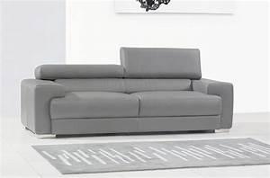 Canapé Cuir Gris Clair : canap 3 places en cuir italien vivaldi gris clair mobilier priv ~ Teatrodelosmanantiales.com Idées de Décoration