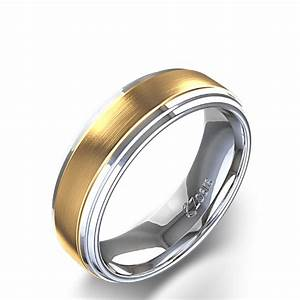 Brushed Men39s Wedding Band In 14K Two Tone White Gold