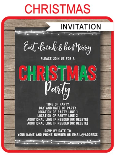 christmas chalkboard invitation christmas party