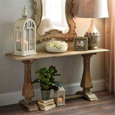 distressed natural pedestal console table tables