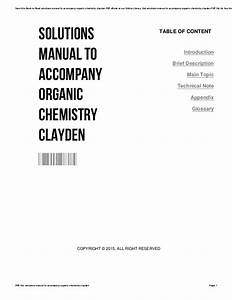 Solutions Manual To Accompany Organic Chemistry Clayden