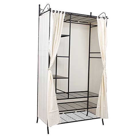 songmics wardrobe clothes cupboard hanging rail storage