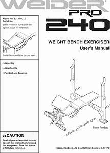 Weider 831150312 User Manual Pro 240 Weight Bench Manuals