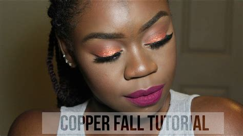 fall makeup tutorial copper glitter dark skin youtube
