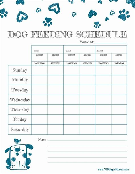 printable feeding schedule  track  dogs food