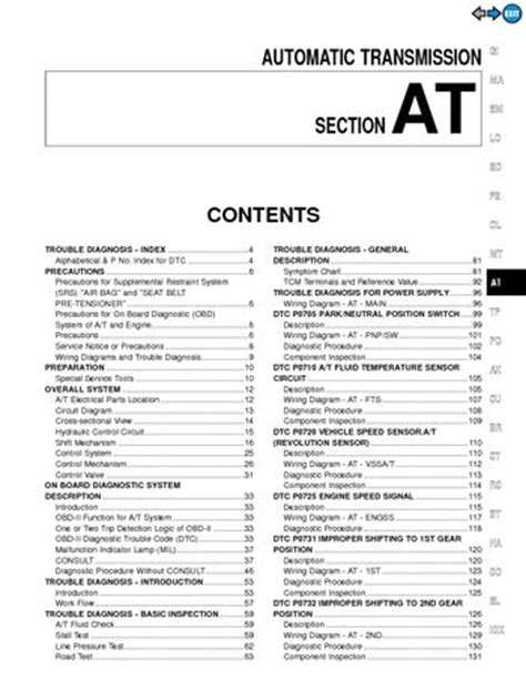 on board diagnostic system 1996 nissan pathfinder auto manual 2000 nissan pathfinder automatic transmission section at pdf manual 350 pages