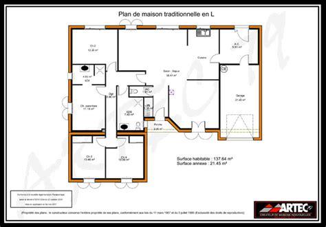 plan de maison 120m2 4 chambres exemple plan maison 4 chambres