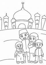 Colouring Ramadan Muslim Mosque sketch template