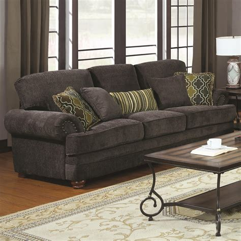 accent pillows for grey sofa 674 10 colton smokey grey chenille sofa with rolled arms