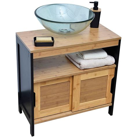 robinet de cuisine noir meuble dessous de lavabo ou evier 2 portes 1 étagère 1 niche style vintage en bambou
