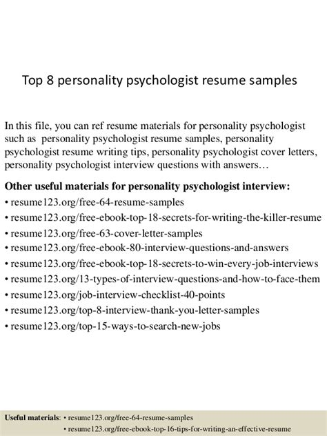 Personality Resume Exles by Top 8 Personality Psychologist Resume Sles