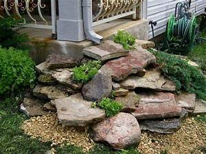 downspout drainage idea to stack flat rocks for a mini With katzennetz balkon mit hape garden stacker