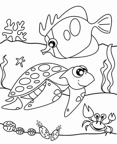 Coloring Sea Animals Sheet Pages Printable Fish