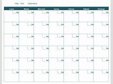 Calendario mensual en blanco Office Templates